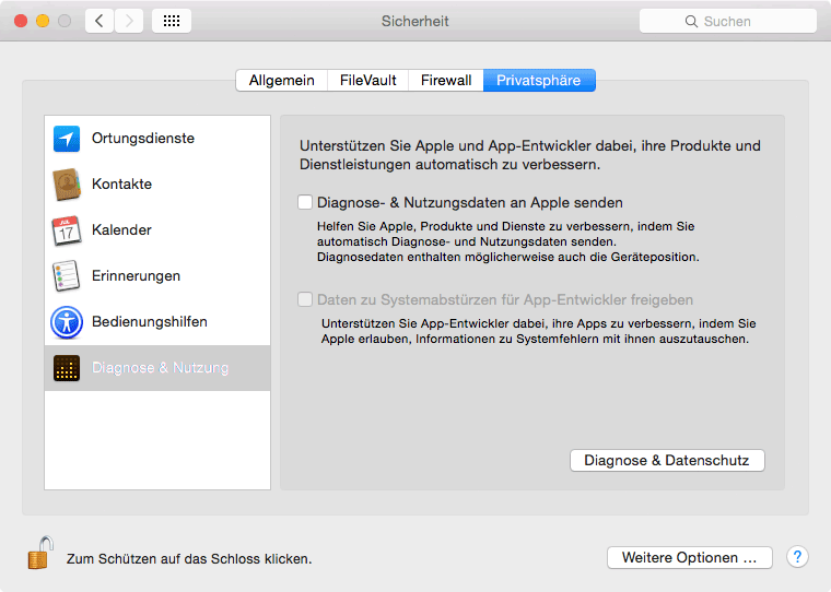 Mac Einstellungen Diagnose